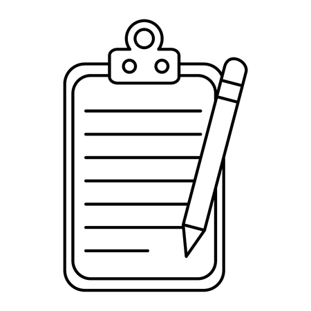 Paper clipboard with pencil vector illustration, graphic design.