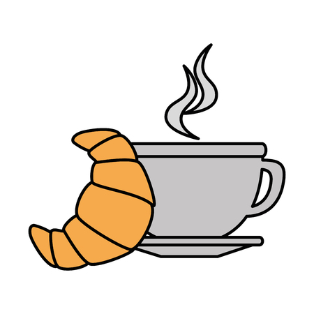 delicious cup coffee with croissant vector illustration design