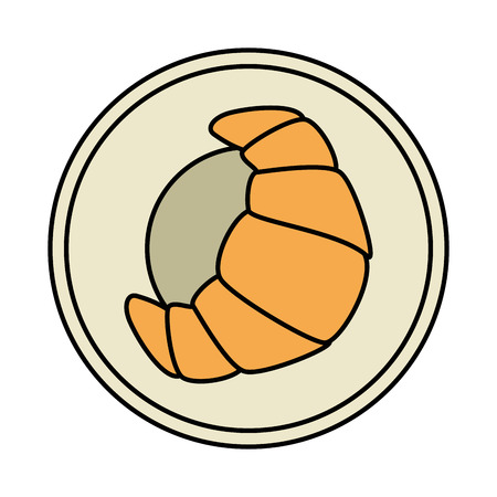 dish with croissant icon vector illustration design