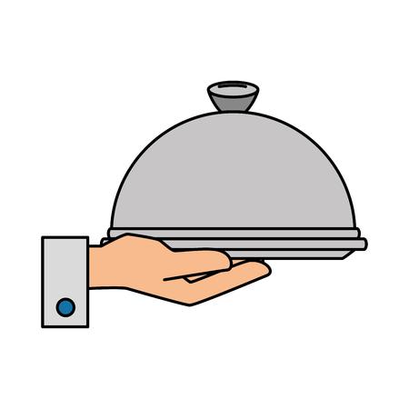 De la mano con diseño de ilustración de vector de icono aislado servidor de bandeja Foto de archivo - 89530967