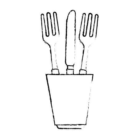 glass with cutlery icon vector illustration design Çizim