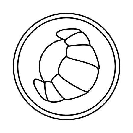 dish with croissant icon vector illustration design