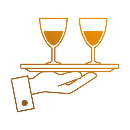 Bandeja con vino tazas vector ilustración diseño Foto de archivo - 89556953