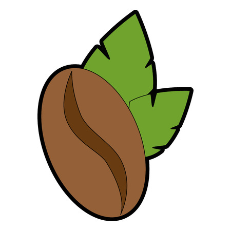 coffee seed with leafs vector illustration design