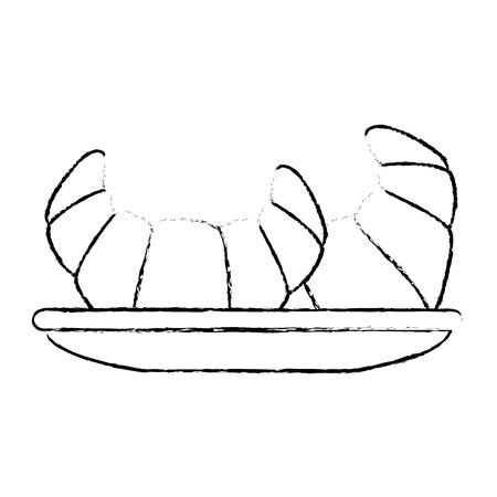 dish with croissants icon vector illustration design