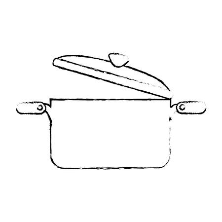 kitchen pot open isolated icon vector illustration design 向量圖像
