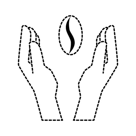 hands protected coffee seed isolated icon vector illustration design