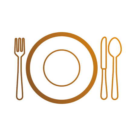 flatwares: dish with cutleries icon vector illustration design