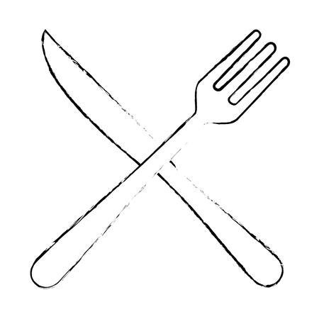 フォークとナイフカトラリーのアイコンベクトルイラストデザイン