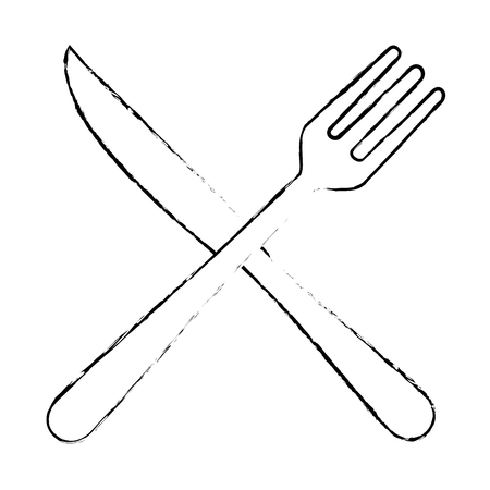 fork and knife cutlery icon vector illustration design Ilustração