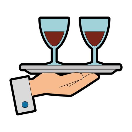 Bandeja con vino tazas vector ilustración diseño Foto de archivo - 89536401