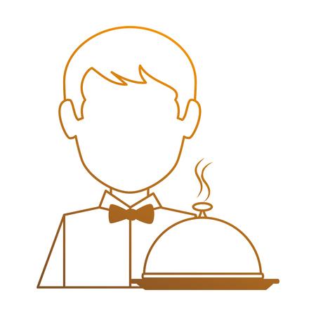 トレイアバター付きレストランウェイターキャラクターベクターイラストデザイン