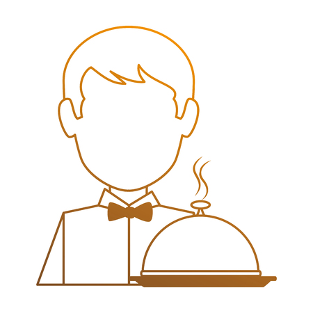 restaurant waiter with tray avatar character vector illustration design