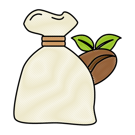 bag coffee seeds and leafs vector illustration design