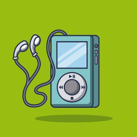 Technologie mp4 muziek speler hoofdtelefoons vector illustratie Stock Illustratie