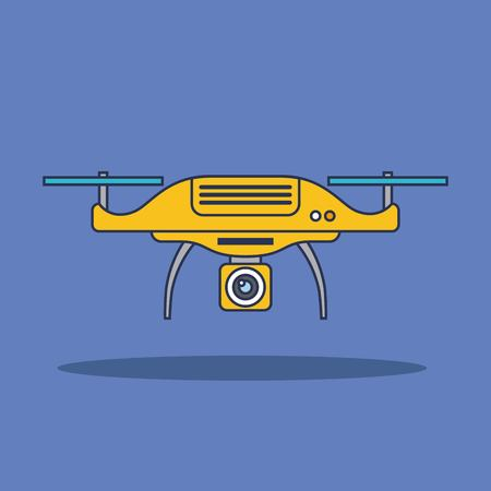 Drone technology aerial surveillance vision vehicle remote control device sign vector illustration Illustration