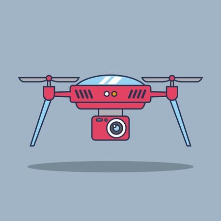 ドローン技術空中監視ビジョン車両リモートコントロールデバイスサインベクトルイラスト