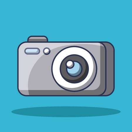 cartoon photo camera device technology lens flash button vector illustration Ilustração