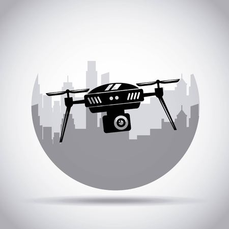 Drone on the city background with camera mechanism remote controlled vector illustration Ilustração