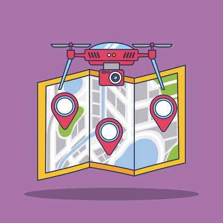 drone with camera and map city navigation vector illustration