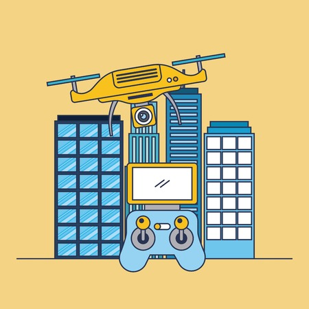 drone flying remote control and city building vector illustration Çizim