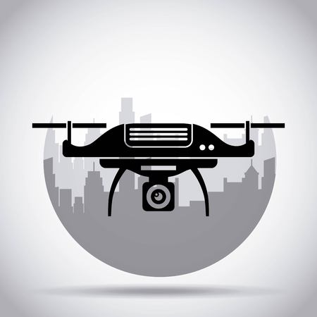 drone on the city background with camera mechanism remote controlled vector illustration
