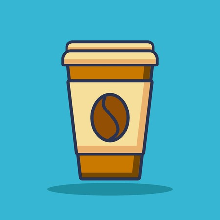 disposable paper coffee cup bean beverage icon vector illustration