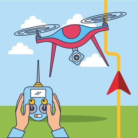 손과 무인 항공기 원격 제어 GPS 경로 위치 벡터 일러스트 레이션