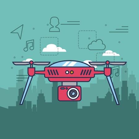 カメラ機構リモート制御ベクトル図と都市背景の無人機します。
