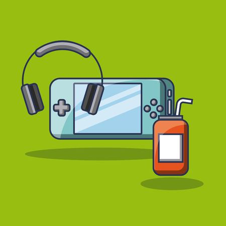 gaming headphones and energy drink can vector illustration