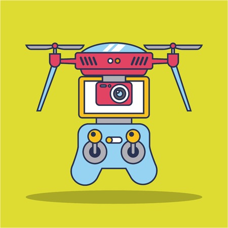 drone quadcopter with remote controller vector illustration Illusztráció