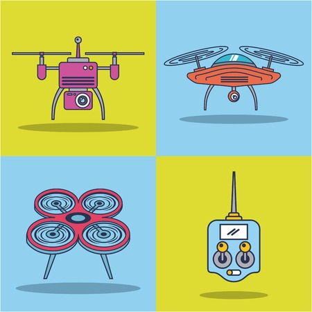 drone icon set remote control aerial camera view vector illustration Çizim