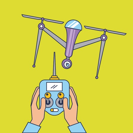 drone quadcopter with remote controller vector illustration Ilustracja
