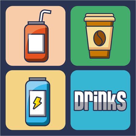 음료 에너지 커피 소 다 음료 아이콘 벡터 일러스트 레이 션의 집합