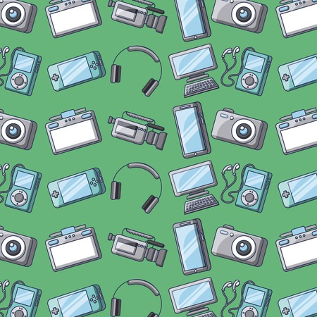 set of gadgets technology device digital elements seamless pattern vector illustration