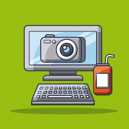 컴퓨터 사진 카메라 애플 리케이션 가제 소다 수있는 벡터 일러스트 레이션 스톡 콘텐츠 - 89586972
