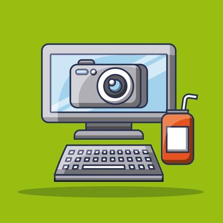 computer photo camera app gadget soda can vector illustration