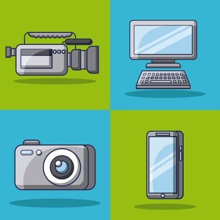 collection gadgets technology innovation modern vector illustration 向量圖像