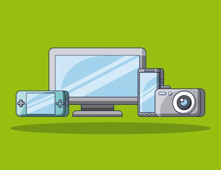 기술 가제트 컴퓨터 카메라 모바일 재생 콘솔 벡터 일러스트 레이션