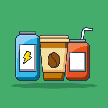 set of beverage soda coffee and energy drink vector illustration