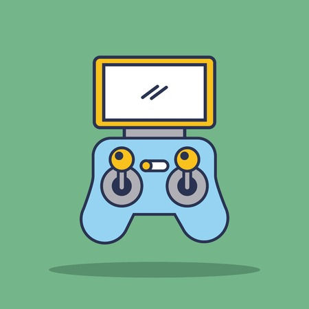 remote controller device advanced for drone panel with display and sticks vector illustration Ilustração