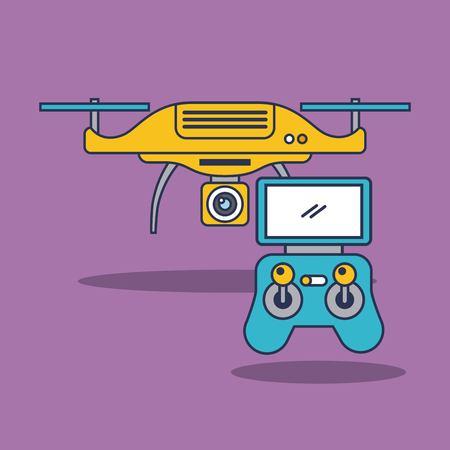 drone quadcopter met afstandsbediening vectorillustratie