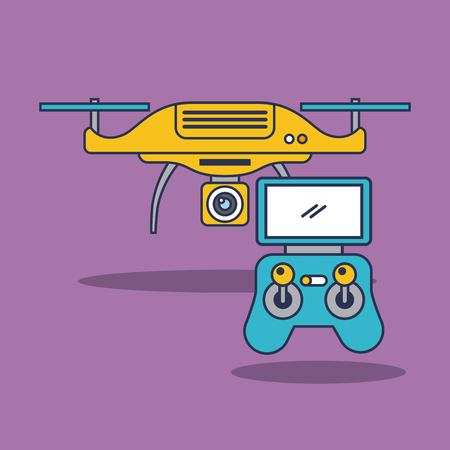 drone quadcopter with remote controller vector illustration Çizim