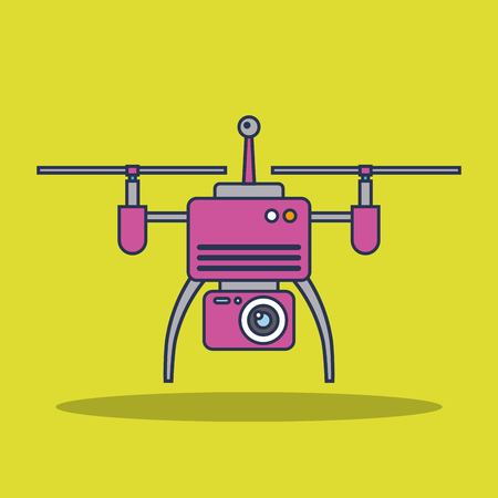 drone technology aerial surveillance vision vehicle remote control device sign vector illustration