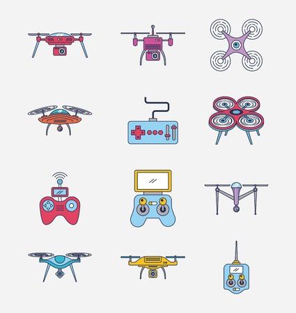 drone icon set afstandsbediening luchtfoto camera weergave vectorillustratie