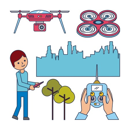 drone concept boy remote control city and tree design vector illustration Çizim