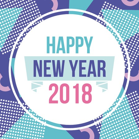 happy new year 2018 round card dots design image vector illustration