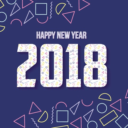 happy new year 2018 card geometric figures purple background vector illustration Ilustração