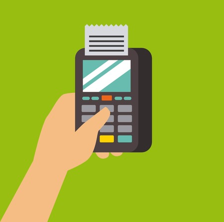 mobile payment dataphone hand commerce vector illustration