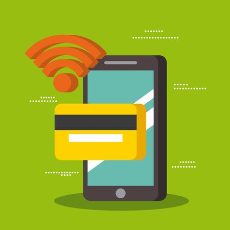 smartphone wifi with credit card payment technology near field communication vector illustration Illustration